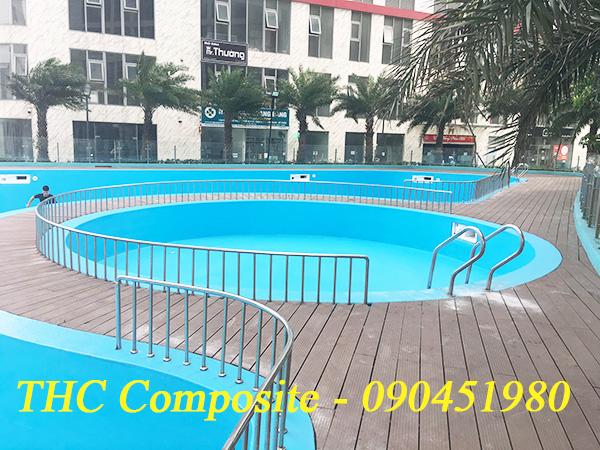 Công trình bọc phủ composite chống thấm, chịu kết cấu bể bơi khi dưới đáy bể là siêu thị.